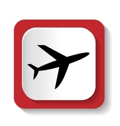 Icon with the image of an airplane vector