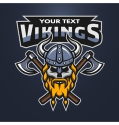 Viking warrior skull and axes emblem vector