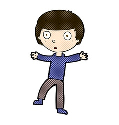 Comic cartoon startled boy vector