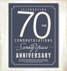 70 years anniversary background vector image