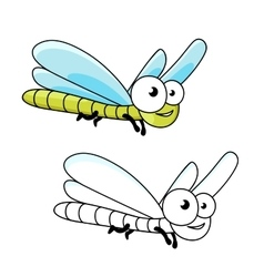 Funny cartoon green dragonfly insect vector