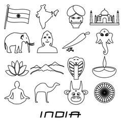 India country outline theme symbols set eps10 vector
