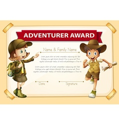 Adventure award with two children background vector