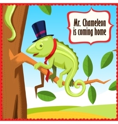 Chameleon cartoon funny animal vector