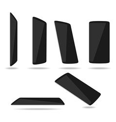 Black thin smartphones face different vector