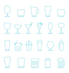Thin lines icon set - glass and beverage vector