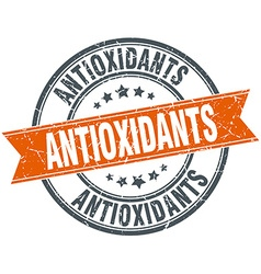 Antioxidants round orange grungy vintage isolated vector