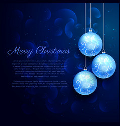 Blue background with shiny hanging christmas balls vector
