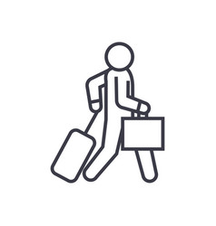 business traveler walks linear icon sign symbol vector image vector image