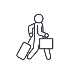 business traveler walks linear icon sign symbol vector image