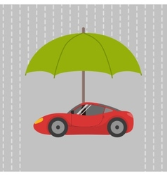 Car under umbrella vector