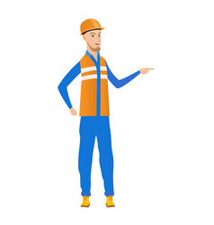 Caucasian builder screaming and shaking finger vector