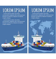 Commercial sea shipping flyer template set vector