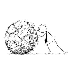 Conceptual cartoon of businessman rolling large vector