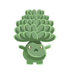 Cute cactus with frightened face cartoon vector