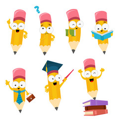 cute cartoon pencil characters set vector image
