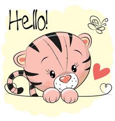 cute drawing tiger vector image vector image