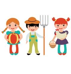 Cute farmers vector image vector image
