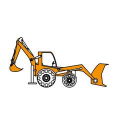 excavator or backhoe construction heavy machinery vector image vector image