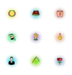 Funeral icons set pop-art style vector