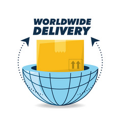 Global box package to delivery service vector