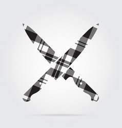 Grayscale tartan isolated icon two kitchen knives vector