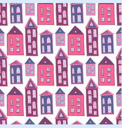 Houses seamless pattern sweet pink girlish vector
