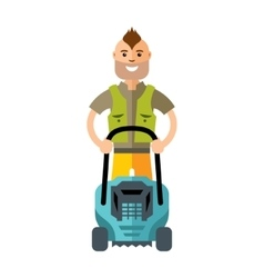 Lawnmower man with lawn mower flat style vector