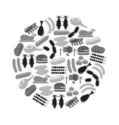 Meat food icons and symbols set in circle eps10 vector