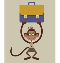 monkey with a briefcase vector image vector image