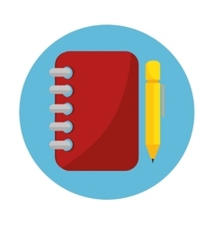 notebook spiral with pencil education online icon vector image