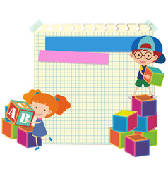 Paper template with kids and blocks vector