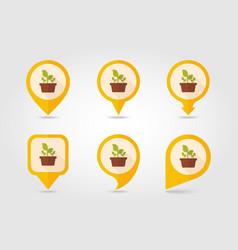 Plant in pot flat pin map icon garden flowerpot vector