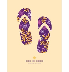 Purple and gold underwater plants flip flops vector image