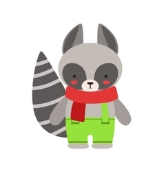 Raccoon in red scarf and green pants cute toy baby vector