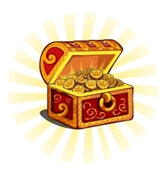 Red glowing open chest with gold coins vector