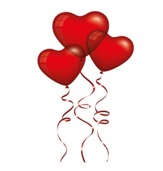 Red Heart Balloons vector image vector image