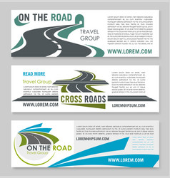 Road travel banner template for tourism design vector