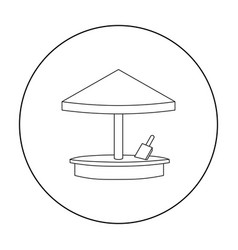 Sandbox icon in outline style isolated on white vector