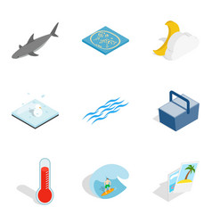 Sea funtime icons set isometric style vector