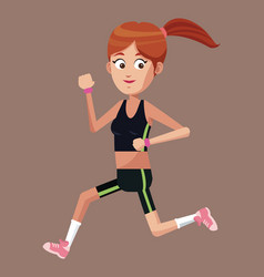 Sport girl running exercise vector