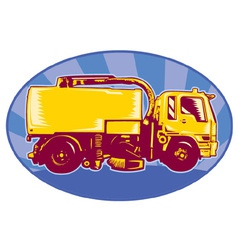 Street cleaner sweeper truck viewed side view vector