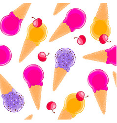 Sweet seamless pattern with multiciolor fruit ice vector