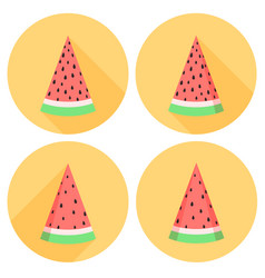 Watermelon slices set in flat style with circles vector