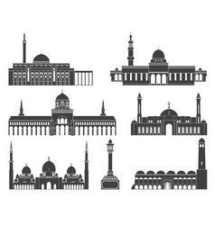 Western asia isolated asian buildings on vector