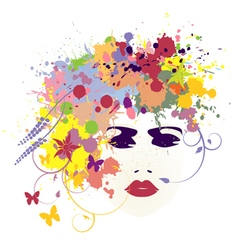 Woman face flowers vector