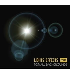 Round and hexadecimal sun light effect with lens vector
