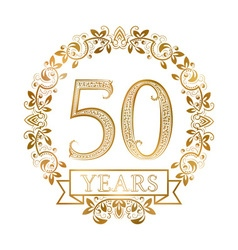 Golden emblem of fiftieth years anniversary in vector image