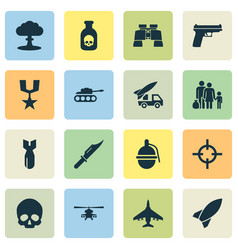 Combat icons set collection of missile fugitive vector
