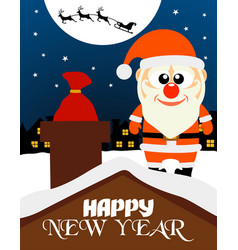 Happy new year card santa claus on the roof vector